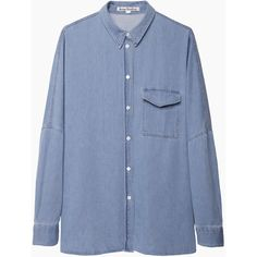 Acne Studios Jetson Oversized Denim Shirt ($290) ❤ liked on Polyvore featuring tops, shirts, long sleeves, blouses, blue shirt, dolman-sleeve tops, long sleeve dolman top, long sleeve shirts and oversized long sleeve shirt