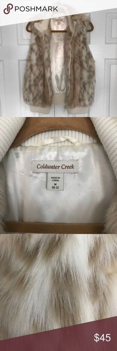Coldwater Creek Faux Fur Vest Coldwater Creek Faux Fur Vest. Cream colored. Size M, 10-12. Never Worn, but tags are off. Bust measured 21 inches. Length measures 25 inches Coldwater Creek Other