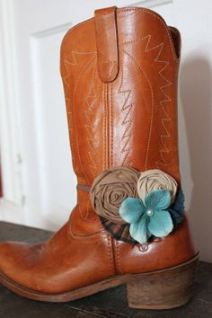 Indie Flower Boot Band -  ONE Rustic Plaid & Pale Teal Flower Boot Bracelet -Ready to ship