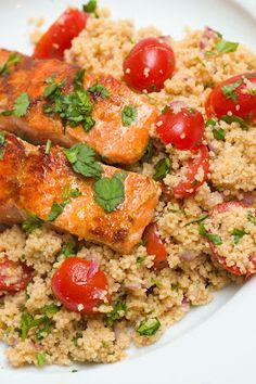 Sugar & Spice by Celeste: Lemony Salmon with Cherry Tomato Couscous Salmon Recipes, Fish Recipes, Seafood Recipes, Healthy Recipes, Healthy Meals, Delicious Recipes, Crockpot Recipes, Quinoa, Gourmet