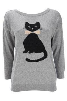 This #Wallis grey sweatshirt with a black cat detail is so cute $49, get it here: http://rstyle.me/~bDQb