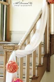 9 Complex Stairs Decoration for Wedding Images - Stairs Architecture Tulle Decorations, Wedding Hall Decorations, Engagement Decorations, Decor Wedding, Banisters, Banister Ideas, Staircase Ideas, Stair Railing, Stair Decor