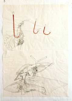Joseph Beuys - Untitled (Horns), 1961. Watercolor and pencil on parchment paper, mounted on paper, 21 x 29.8cm