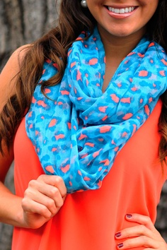 Blue/coral leopard scarf.  ♥