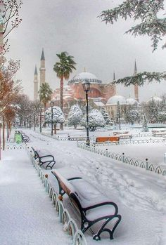 Hagia Sophia in a snowy day, Istanbul. Hagia Sophia Istanbul, Beautiful World, Beautiful Places, Travel Around The World, Around The Worlds, Places To Travel, Places To Visit, Empire Ottoman, Hotels In Turkey