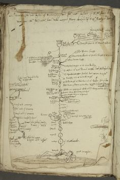 Ancestry of John Dudley, 1st Duke of Northumberland (1504-1553), shown in the manner of a 'tree of Jesse' arising from a recumbent ancestor named 'Roderycke'. [LPL MS310 f. 58]