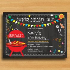 BBQ Birthday Invitation Chalkboard Backyard surprise by miprincess Grill Party, Bbq Party, Barbacoa, 60th Birthday Party, Birthday Invitations, Soirée Bbq, Decoration Table, Invitation Cards, Chalkboard