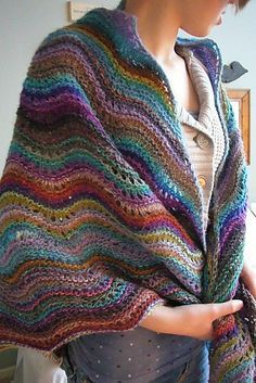 Noro Yarn 'Feather and Fan' wrap. Gorgeous!! - see the solid color interspersed with the colorful Noro.