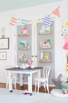lay baby lay pastel baby room reveal. featuring our vintage schoolhouse square play table, paint-dipped French café play chairs and porcelain tea set.