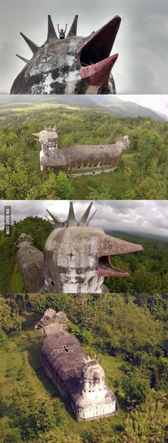 Mysterious abandoned 'Chicken Church' built in the Indonesian jungle by the man who had a vision from God.