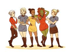 Lady Trek: uhura as captain, carol as first/science officer, chapel as chief medical officer, rand as head of communications, gaila as chief engineer