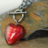 I Love You, Red heart Venetian Glass Necklace (just like my mom's)