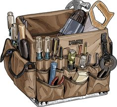 """The reliable milk crate is a handy way to haul your tools. Want to turn it into a tool organizer powerhouse? Grab the Crate Master – 48 pockets to hold your gear. Load it up and say """"Holy cow! Workshop Storage, Tool Storage, Crate Storage, Just In Case, Just For You, Ideas Prácticas, Gift Ideas, Milk Crates, Ideas Hogar"""