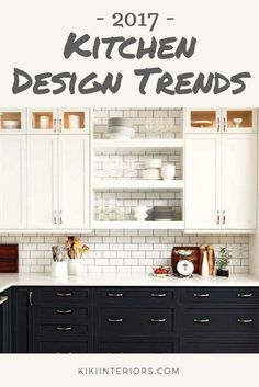 What are the kitchen design trends for 2017? Farmhouse sinks, pattern tiles, navy, grey, and so much more. Kitchen inspo