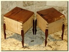 Pair of Curly Maple & Cherry Wooden Boxes
