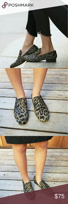 Sam Edelman Kalinda animal print loafer Sam Edelman Kalinda Animal Print Brahma Hair   Sam Edelman puts a feminine twist on the classic loafer with this Kalinda style. They are made from a chic grey and black leopard-print calf hair and have a stacked wooden heel for extra comfort. This pair is smart enough for the office but works equally well teamed with boyfriend jeans for a more laid back look.   100% Calf hair   Leather sole    Heel 1in/2.5cm Sam Edelman Shoes Flats & Loafers
