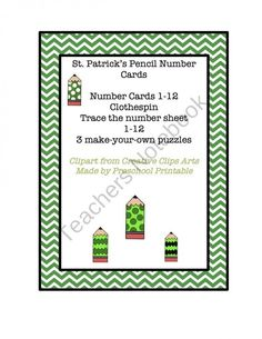 Free Download---St. Patrick's Day Mini Unit including clothes pin counting, tracing and puzzles.
