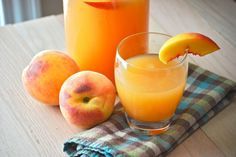 Peach Lemonade  4 cups water  2 cups coarsely chopped peaches (approx. 3 to 4 peaches)  3/4 cup sugar  1 cup fresh lemon juice (juice of approx. 6 to 8 lemons)  1/4 to 1/2 cup additional water  4 cups ice  1 peach cut into 8 wedges, for garnish