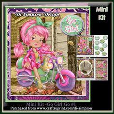 Mini Kit Go Girl Go 1 on Craftsuprint - Add To Basket!