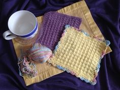 Crochet a Scalloped Edge on a butter yellow Waffle Knit Dishcloth - www.taffetadreams.com