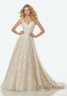 Randy Fenoli Bridal, Alicia Wedding Dress | Style 3410. Crystal Beaded Venice Lace Appliqués on Soft Net A-Line Over Sequined Chantilly Lace with Beaded, Sheer V-Neckline and Open V Back. Illusion Straps.