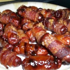 Bacon Wrapped Smokies, sprinkled with brown sugar.  (Val made these for Jim's birthday, yum!)