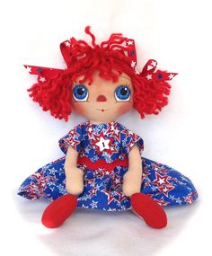 Primitive Raggedy Ann Doll Patriotic Red White by cottoncandydolls