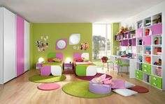 green and pink in child room