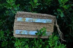 Clutch bag Eco print on cotton Eucalyptus and blackberry