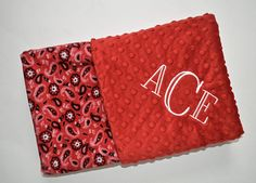 Monogrammed chevron baby blanket minky blanket coral peach baby personalized minky baby blanket monogrammed red bandana cowboy western blanket with name newborn gift gender neutral black white negle Choice Image