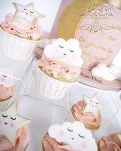 Baby Shower Cupcakes For Girls, Baby Shower Sweets, Baby Girl Shower Themes, Girl Baby Shower Decorations, Baby Shower Cookies, Baby Shower Parties, Baby Elephant Cake, Elephant Cake Toppers, Baby Reveal Cakes