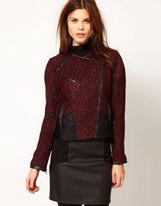 Warehouse Colour Block Tweed Jacket