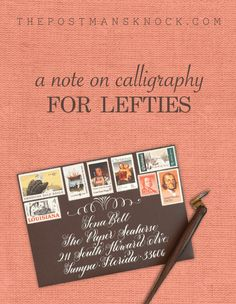 It can be difficult to find resources on calligraphy for lefties, and hopefully this post offers some interesting tips, tricks, and resources for creating beautiful letters with your left hand! Calligraphy Alphabet Tutorial, Calligraphy Lessons, Hand Lettering Tutorial, Learn Calligraphy, Handwritten Letters, Monogram Letters, Free Monogram, Monogram Fonts, Script Fonts