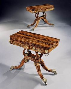 A PAIR OF REGENCY CALAMANDER CARD TABLES ATTRIBUTED TO GEORGE OAKLEY - English Antique ...