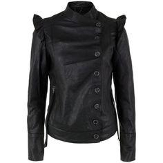 Bolongaro Trevor Liselli Black Leather Jacket ($150) ❤ liked on Polyvore featuring outerwear, jackets, lightweight leather jackets, zipper jacket, bolongaro trevor, genuine leather jackets and ruffle jacket