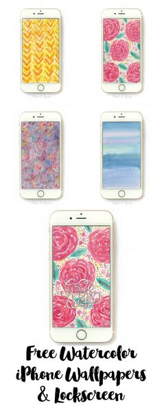 Free Hand-Painted Watercolor iPhone Wallpapers & Hand-Lettered Lock Screen. www.pitterandglink.com