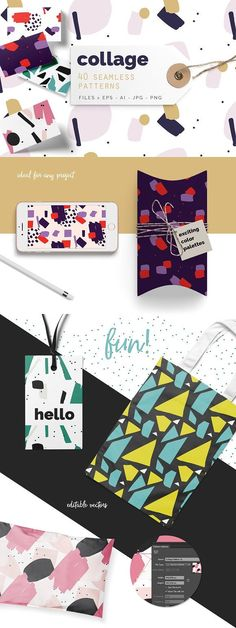 Collage Colorful Patterns of Youandigraphics on Creative Market Source by Design Typography, Lettering, Branding Design, Design Packaging, Pattern Illustration, Pencil Illustration, Business Card Logo, Business Card Design, Texture Web