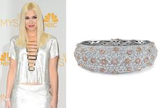 Singer Gwen Stefani also dressed with Neil Lane, wearing the designer's platinum cuff with white and pink diamonds.