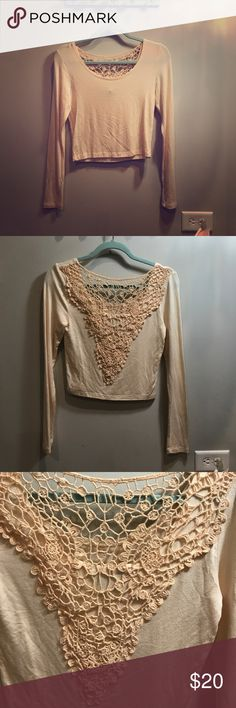 NWOT American Rag Crop top with open lace back Pink cream long sleeve Crop top with thick lace open back detail American Rag Tops Crop Tops