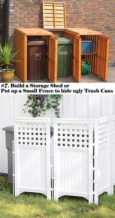 Build a storage shed or put up a small fence to hide the ugly trash cans.