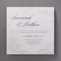 Just a touch of embossed lace - but a big romantic impact! The large, shimmering wedding invitation simply glows with elegance.