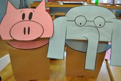 Elephant and Piggie Party, courtesy of Three Little Birds North. Very cute, simple, paper bag puppets. Templates provided, though printing Gerald out cuts off at one margin. Better to retrace and make fresh copies with all parts intact.