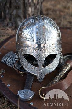 Exclusive Viking's Valsgaarde Stainless Steel Helm :: by medieval store ArmStreet Viking Armor, Viking Helmet, Arm Armor, Medieval Armor, Medieval Fantasy, Armadura Medieval, Armadura Viking, Vikings Tv, Norse Vikings