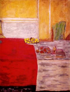 "artist-bonnard: "" Fruit on the red carpet by Pierre Bonnard Size: 64x48 cm Medium: gouache on paper"""