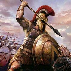 Leonida sta uccidendo un persiano, dietro di lui i 300