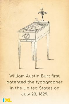 Burt patented this precursor to the typewriter 191 years ago today. He also invented the solar compass! #TBT Ixl Math, History Of Typography, Learning Sites, Throwback Thursday, Typewriter, Interesting Stuff, Compass, Social Studies, Language Arts