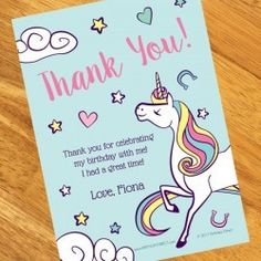 Unicorn Personalized Invitations and Party Supplies 8th Birthday, Unicorn Birthday, Birthday Ideas, Personalized Invitations, Custom Invitations, Thank You Notes, Thank You Cards, Unicorn Party Supplies, Party Themes