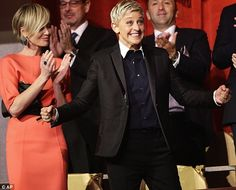 Ellen DeGeneres received the 15th annual Mark Twain Prize for American Humor at the Kennedy Center on Monday night, as her wife Portia de Rossi watched on