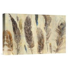 """East Urban Home 'Feather Study' Print Format: Wrapped Canvas, Matte Color: No Matte, Size: 12"""" H x 18"""" W"""