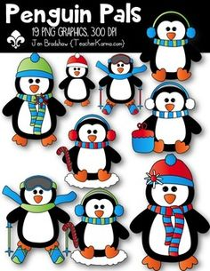 Penguin Pals Clipart!    You will LOVE these ** 19 **  graphics that are so much FUN! They are absolutely perfect for adding to parent newsletters, literacy and writing stations, activities, printables and student worksheets, class invitations, etc.  These graphics may be added to your classroom materials and resource products that you sell.These graphics are intended for you to create your own teaching resources in a document form.